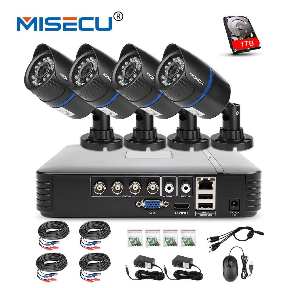 MISECU 4CH 720P AHD DVR CCTV System 1.0MP 1200TVL IR Night Vision Indoor Outdoor Camera Home Security Video Surveillance Kit
