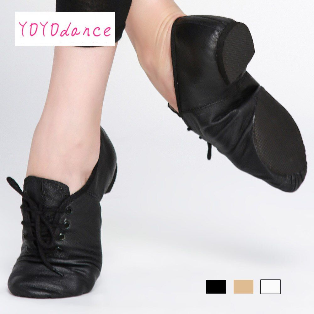 Black Tan lace up Geniune pig leather jazz shoes from Children to adult  quality oxford dance shoes 4715