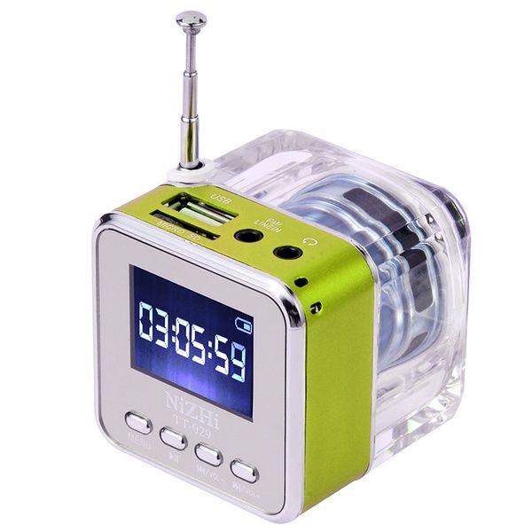 Cristal éclairage Mini haut-parleur numérique musique portable fm radio Micro SD/TF USB disque mp3 LCD affichage haut-parleur horloge radio RADT028