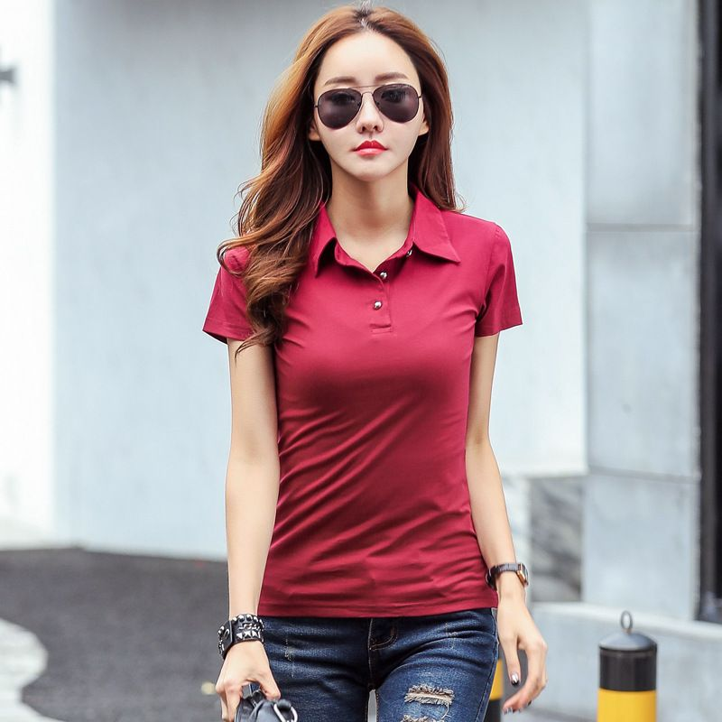 2017 Summer Polo Shirt Women Short Sleeve Solid Slim Polos Mujer Shirts Tops Fashion 100% Cotton Polo Femme Plus Size 5 Colors