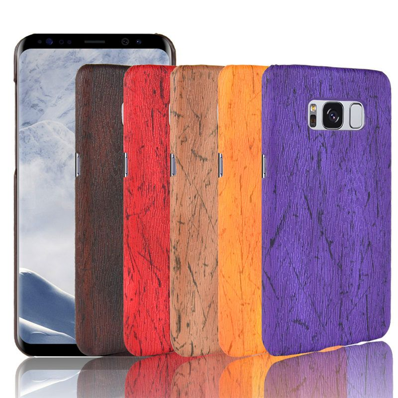 For Samsung S 8 S8Plus S8+ Case Wood Pattern Hard PC+PU Leather Back Cover Hard Phone Case for Samsung Galaxy S 8 S8+ G950 G950U