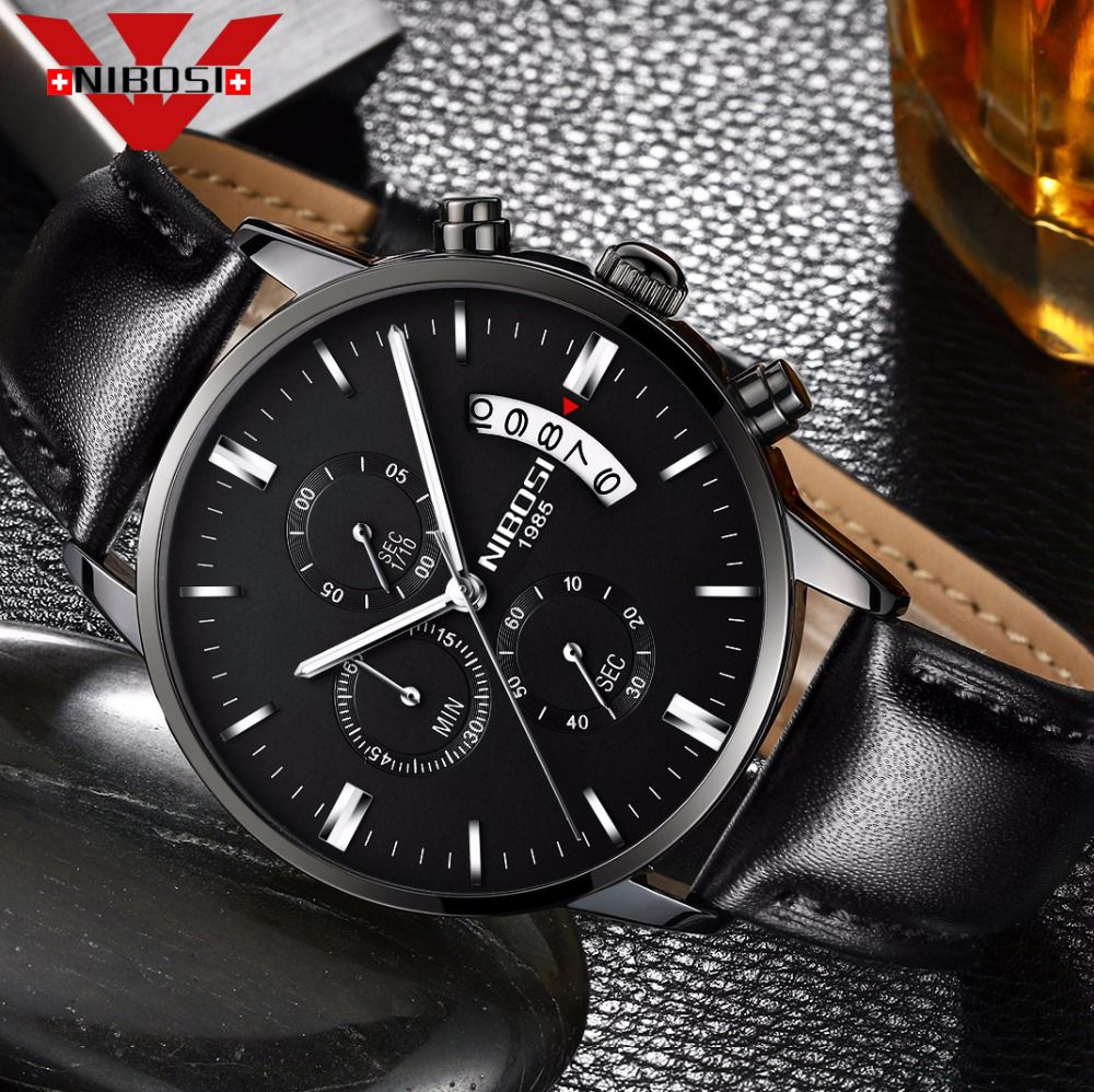 NIBOSI Men's Watch  Luxury Top Brand Fashion Watches Relogio Masculino Military Army Watches Analog Quartz Wristwatches Leather