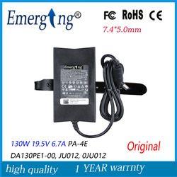 130 W 19.5 V 6.7A 7.4mm * 5.0mm Asli Slim AC Adaptor Laptop Untuk Dell charger Notebook PA-4E DA130PE1-00, JU012,