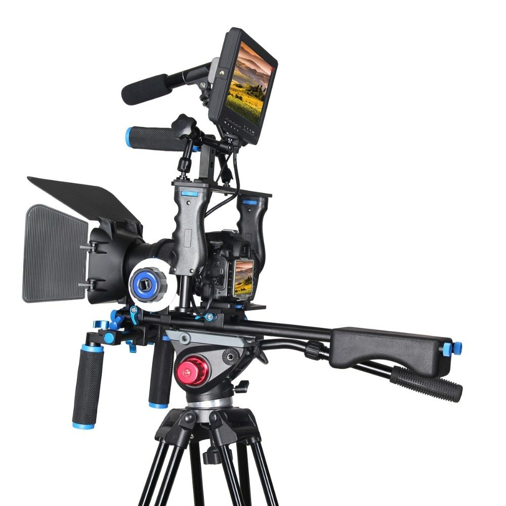 Handle DSLR Rig Stabilizer Video Camera Cage Mount Rig+Matte Box+Follow Focus for Canon 5D serious for nikon Video Camcorder