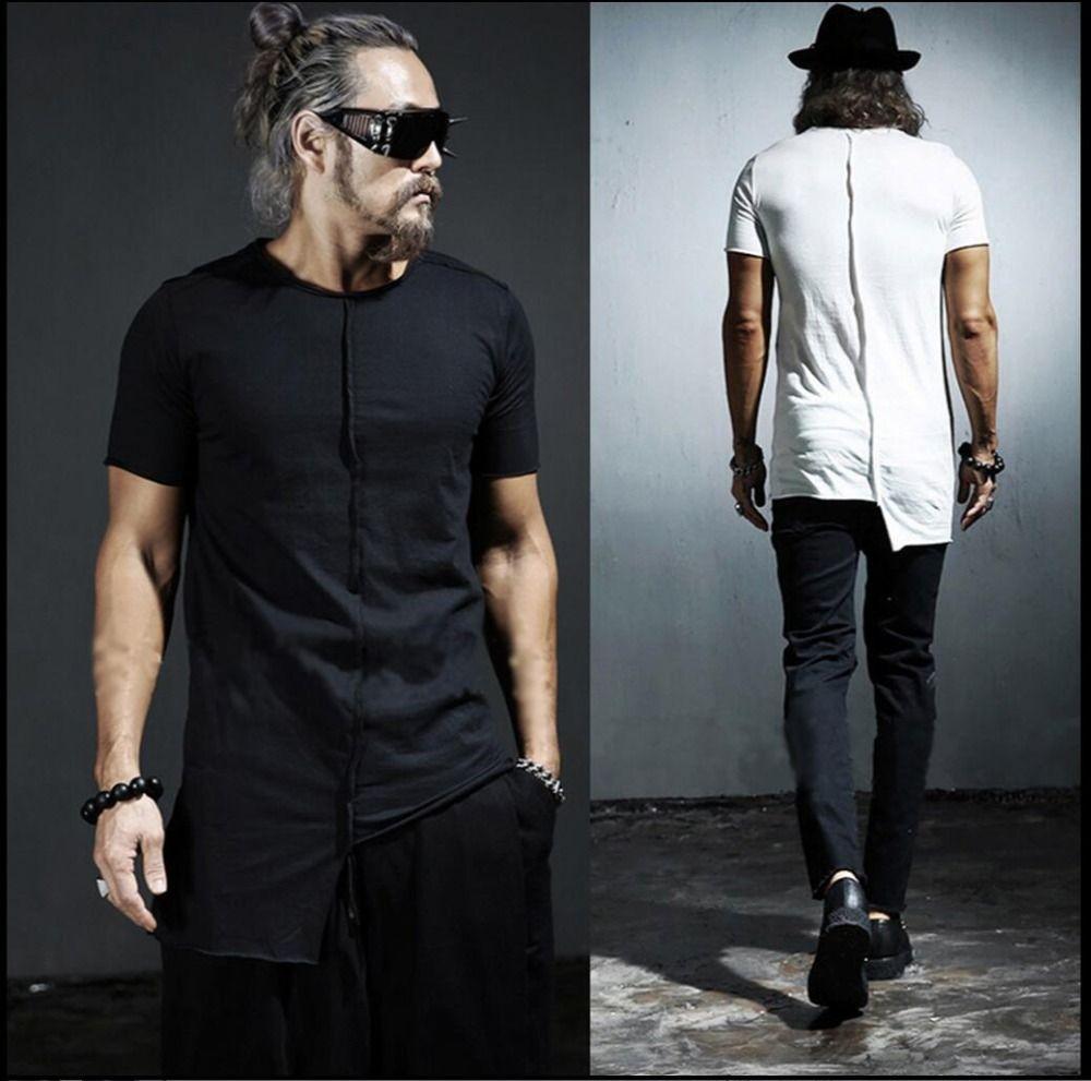 M-4XL HOT ! New men's personality asymmetric Slim T-shirt Korean summer tide short-sleeved T-shirt hairstylist singer costumes
