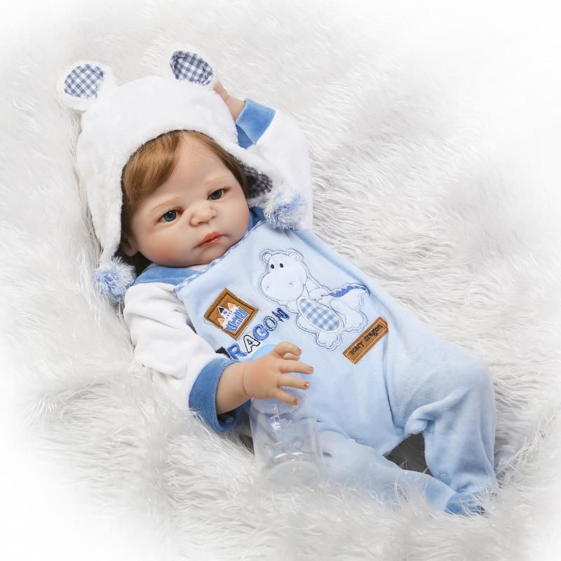 55cm New Full Body Silicone Reborn Baby Doll Toys Rooted Hair Newborn Boy Babies Toddler Dolls Birthday Present Girls Bathe Toy