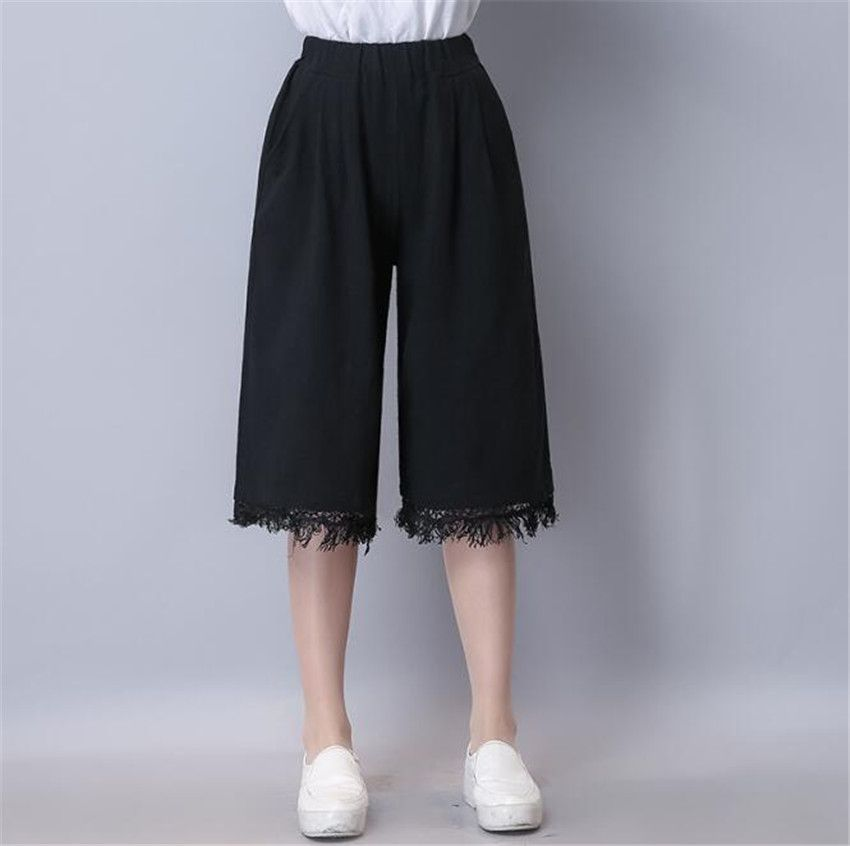MLCRIYG New pattern Cotton and linen Pure color literature Easy Leisure time Large code Cropped Trousers Broad leg pants