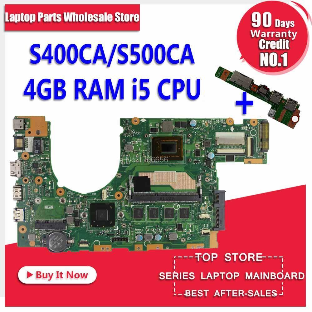 Senden bord + S400CA Laptop motherboard für ASUS S400CA S500CA S400C S500C S400 S500 Test original mainboard 4g RAM i5 CPU