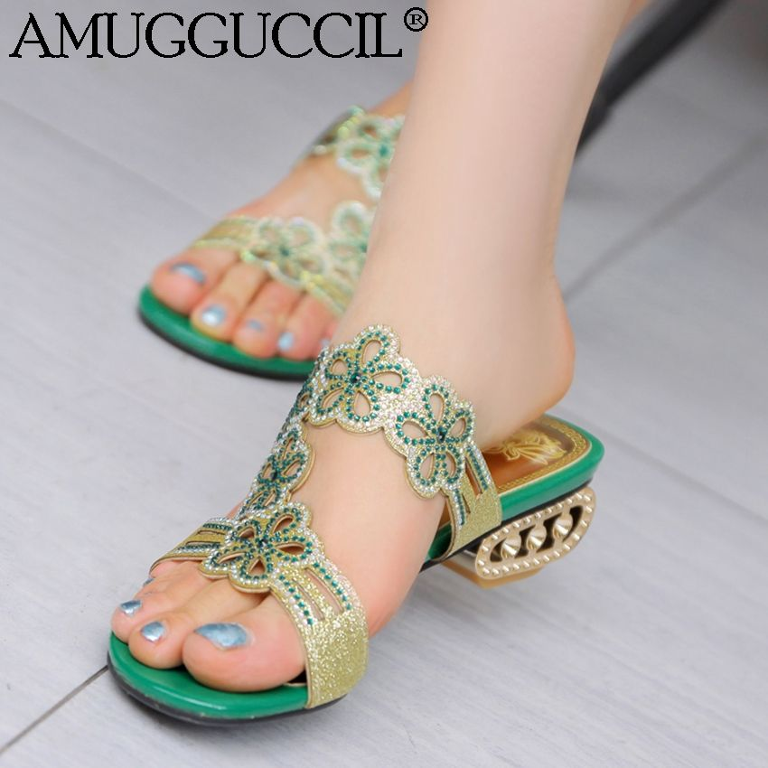 High Quality! Plus Big Size 32-43 Green Apricot Blue Rhinestone Fashion Girls Female Lady Women Summer Sandals Slippers L339