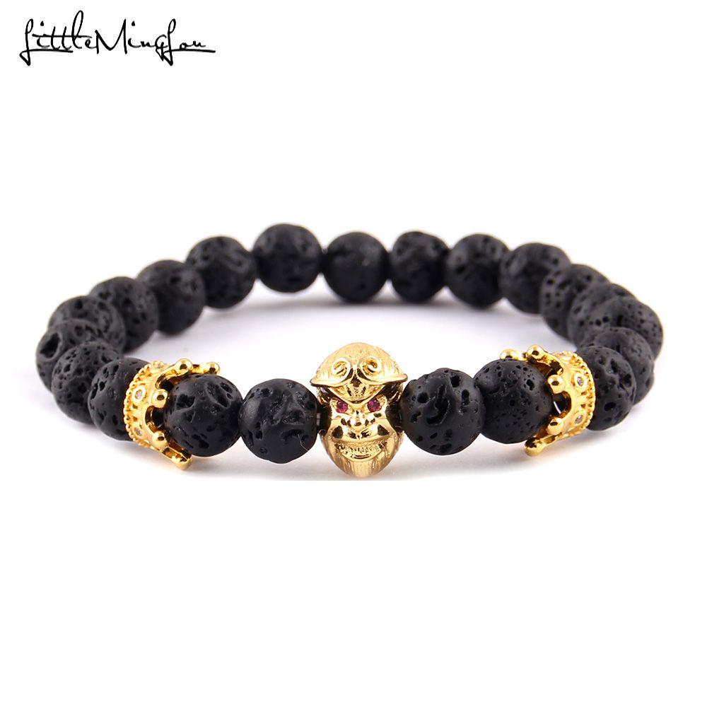 Petit MingLou luxe rouge zircon CZ singe roi couronne charme pierre de lave perle hommes bracelets et bracelets pour femmes bijoux