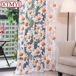 Современные тюлевые занавески s для гостиной шторы для спальни, кухни желтый цветочный оконная занавеска драпировка тканевыми вставками