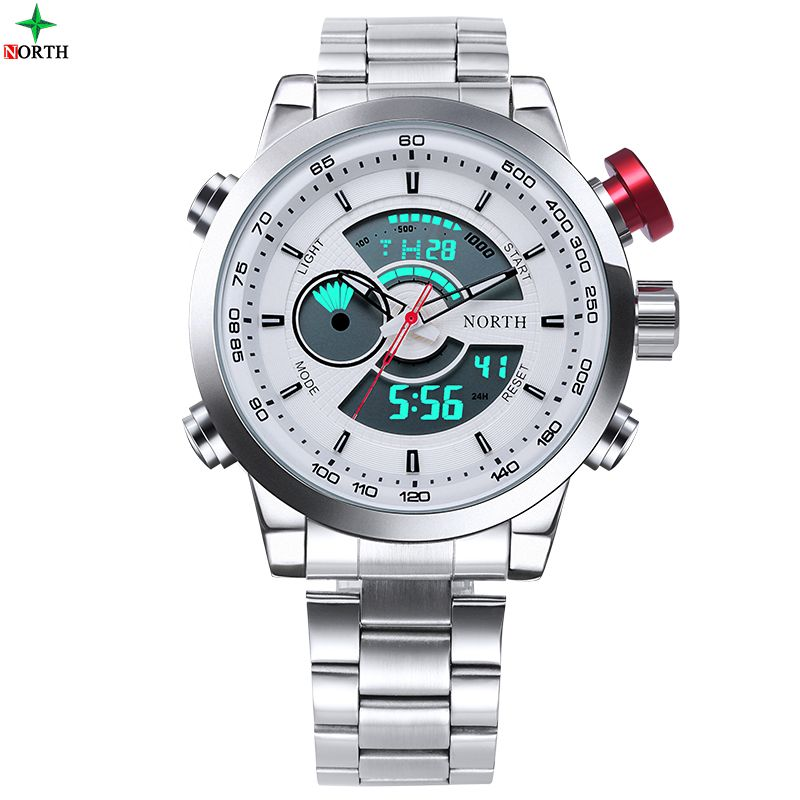 Male Sport Watch Multifunction LED Digital Dual Time Hours Wrist <font><b>Analog</b></font> Round 2017 Fashion Casual Quartz Men Sport Wristwatch