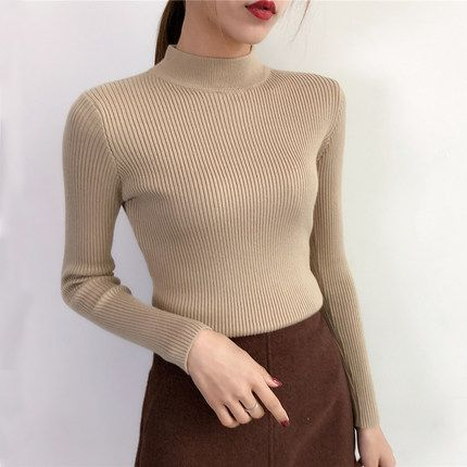 2018 New Brand Spring Autumn Fashion Women sweater tight Solid Turtleneck sweater women slim Knitted Pullovers Female Plus Size