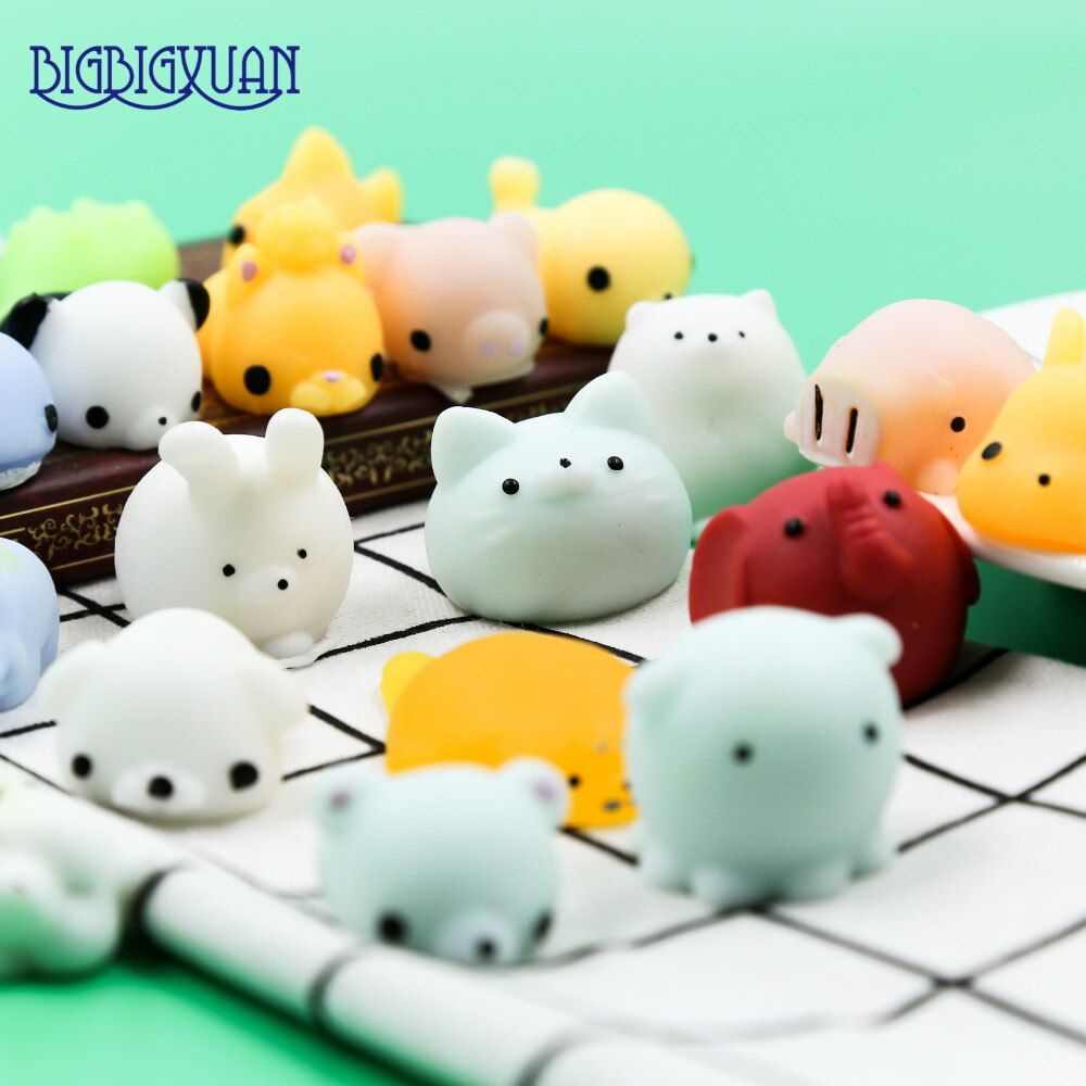30Pcs/lot Funny Squishy Slow Rising Squeeze Lovely Cute Soft Mini animal pig rabbit Elephant Toy Phone Straps Kids Wholesale