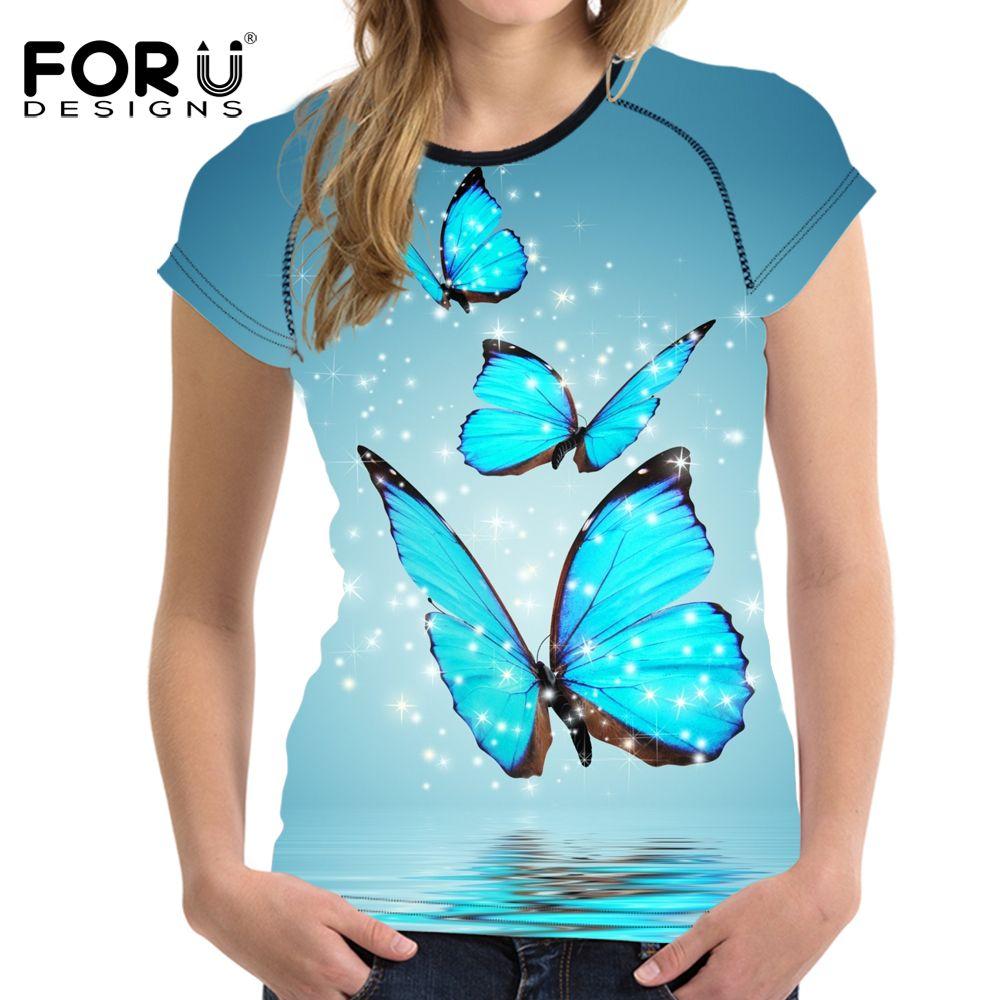 Forudesigns/3D бабочка Для женщин футболка летние шорты футболка с длинными рукавами женщина урожай Топы корректирующие мягкой бодибилдингу слиз...