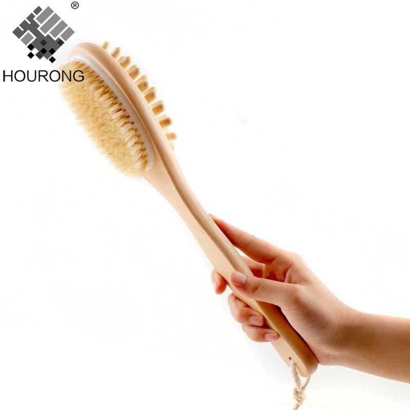 1 PC 35 cm 2-en-1 face poils naturels épurateur Long manche en bois SPA douche brosse bain corps Massage brosses retour facile à nettoyer