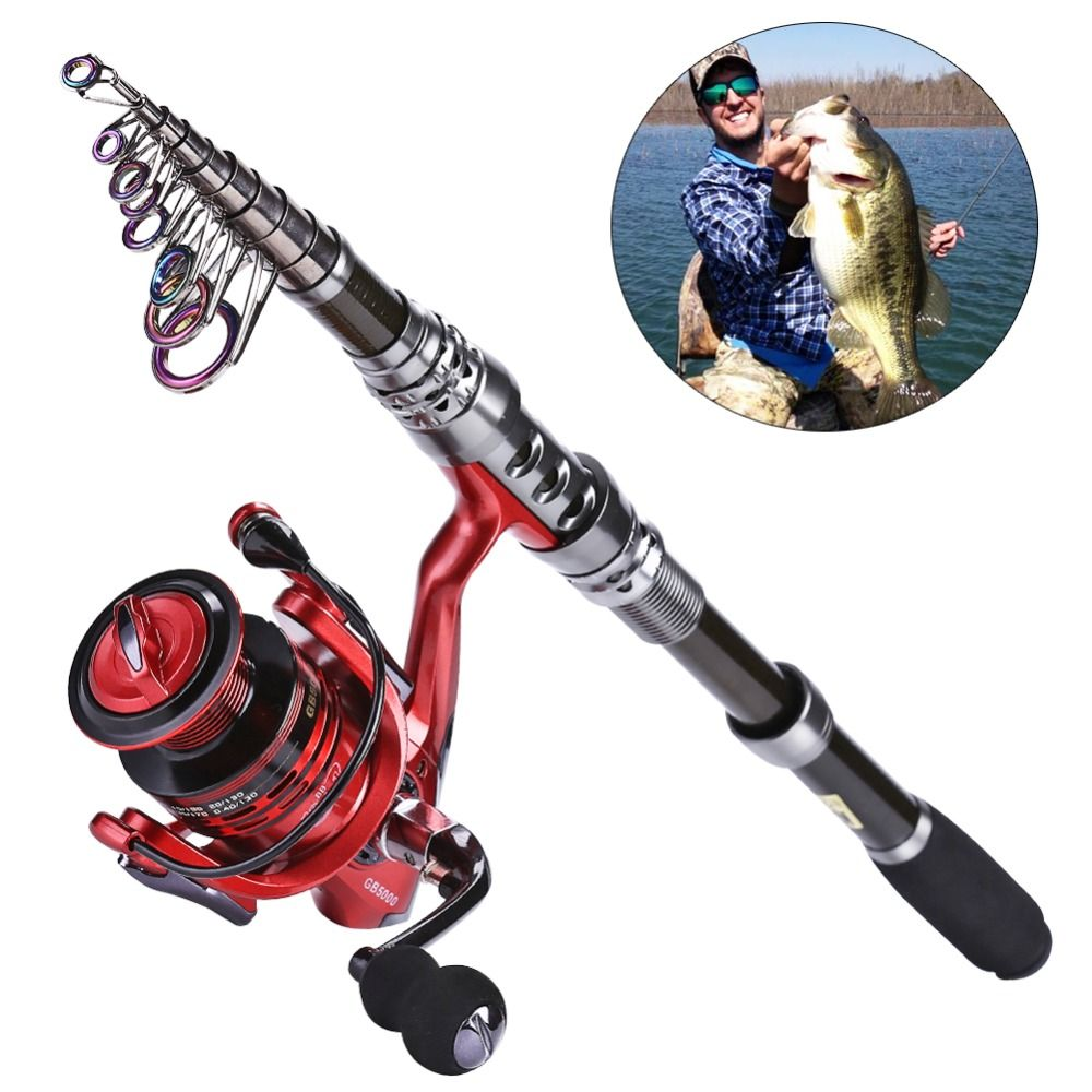 Sougayilang 2.4M Carbon <font><b>Telescopic</b></font> Fishing Rod with GB3000 Series Red/Green/Blue 3color Spinning Fishing Reel Fishing Pole Set