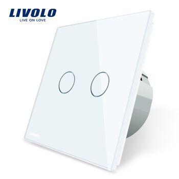 Livolo 2 банды 1 способ сенсорный выключатель, белый прозрачная стеклянная панель переключателей, ЕС Стандартный, 220-250 В, VL-C702-1/2/3/5