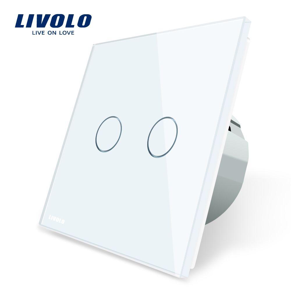 Livolo 2 Gang 1 Way Wall Touch Switch, White Crystal Glass Switch Panel, EU Standard,  220-250V,VL-C702-1/2/3/5