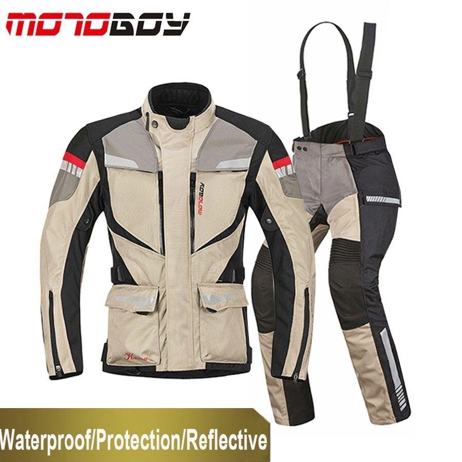 Freies verschiffen 1 satz Winter herren Racing Anzug Wasserdichte Warme Winddicht Reflektierende CE Rüstung Motorrad Motorrad Jacke und Hosen