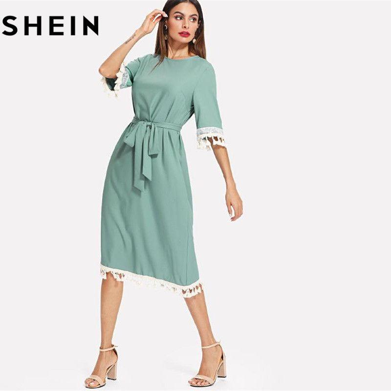 SHEIN Sequin And Tassel Detail Belted Dress Women Round Neck Half Sleeve Dress 2018 Summer <font><b>Blue</b></font> Casual Belted Dress