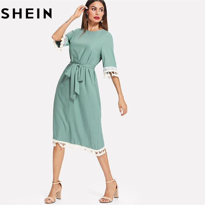 SHEIN Sequin And Tassel Detail <font><b>Belted</b></font> Dress Women Round Neck Half Sleeve Dress 2018 Summer Blue Casual <font><b>Belted</b></font> Dress