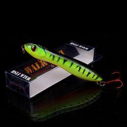 BERJALAN IKAN 1 PCS Ular Kepala Pensil Umpan 100mm/14.9g Fishing lure Mengambang Crankbait Bass Pike Mata 3D Plastik Wobbler Topwater