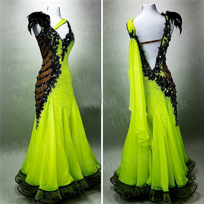 GOODANPAR women sleeveless standard Ballroom Dance Competition Dress with bodysuit bra cups Lycra feather Waltz Tango Dress
