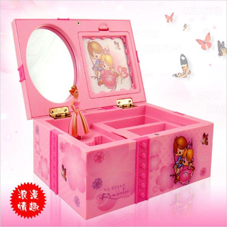Boîte à musique Dream Girl boîte à bijoux musicale pour enfants Rectangle avec ballerine rose Alice au pays des merveilles boîte à musique boîte à bijoux