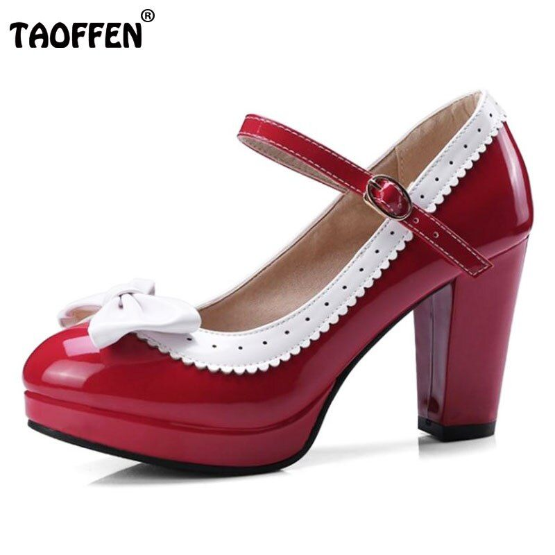 TAOFFEN Size 32-48 Sexy Women Bowtie Round Toe High Heel Shoes Women Ankle Strap Thick Heels Pumps Party Dress Women Footwears