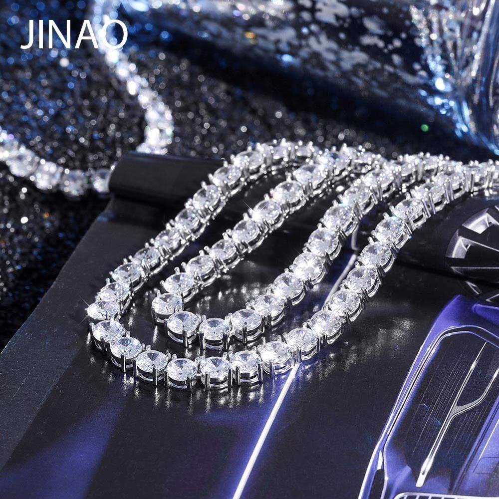 JINAO Neue 925 Sterling Silber 4mm und 6mm männer Halskette Bling CZ Iced Out Hip Hop Schmuck link Tennis Kette Für Geschenk
