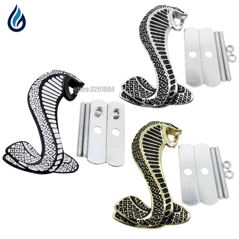 3D Cobra Car Front Grille Emblem Badge Stickers Accessories for Ford mustang Shelby GT500 GT350 Focus Mondeo Kuga Fiesta Escort