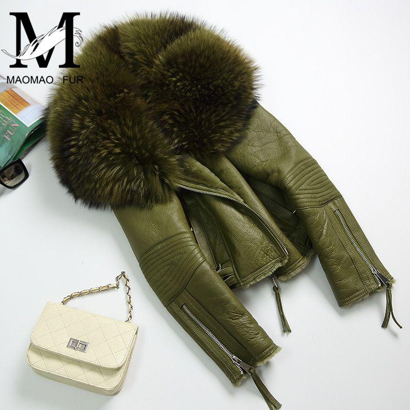 Women Real Sheep Fur Coat Winter Warm Fashion Genuine Merino Sheepskin Leather Jacket Natural Real Large Raccoon Fur Collar Coat