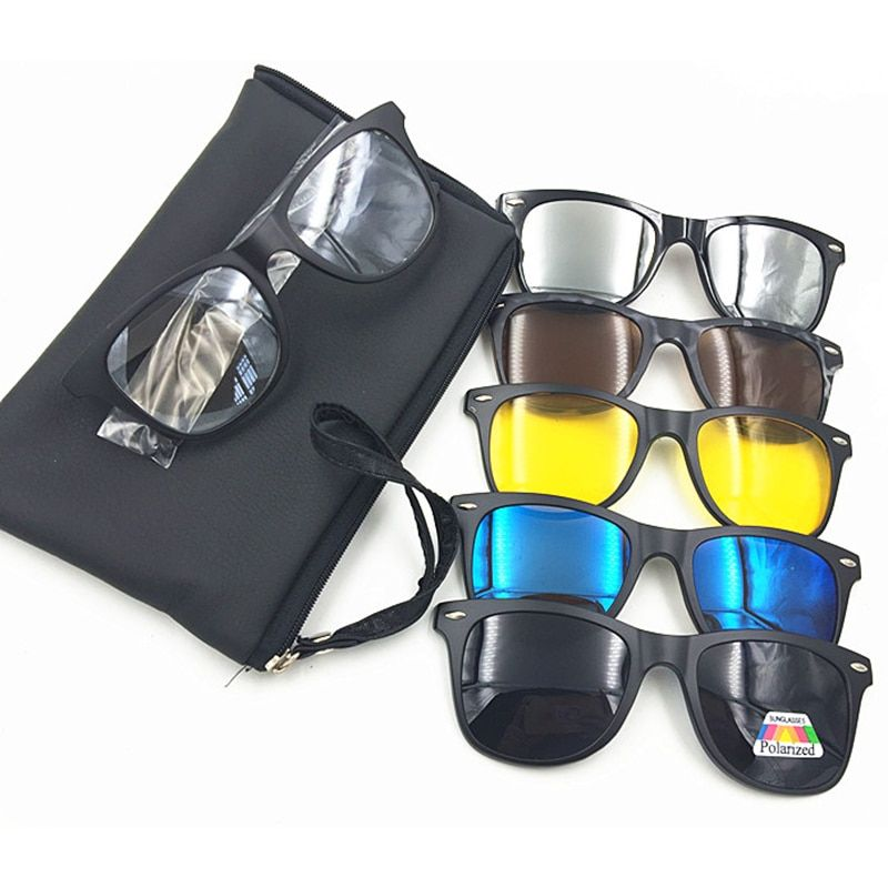 New 5 in 1 Men Polarized Magnetic Sunglasses Clip TR90 Retro Frame Eyewear Night Vision Driving Optical Glasses With Bag