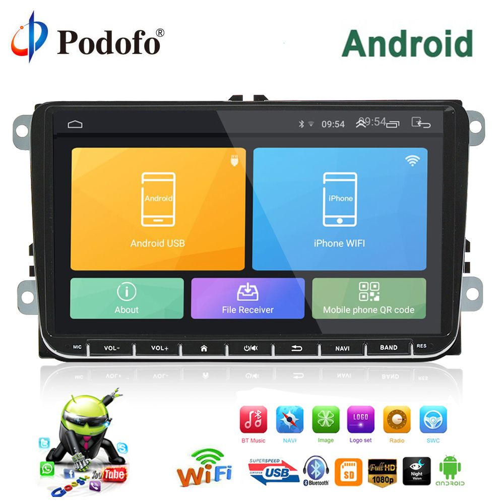 Podofo Car Multimedia player 2 Din Android GPS Navigation 9