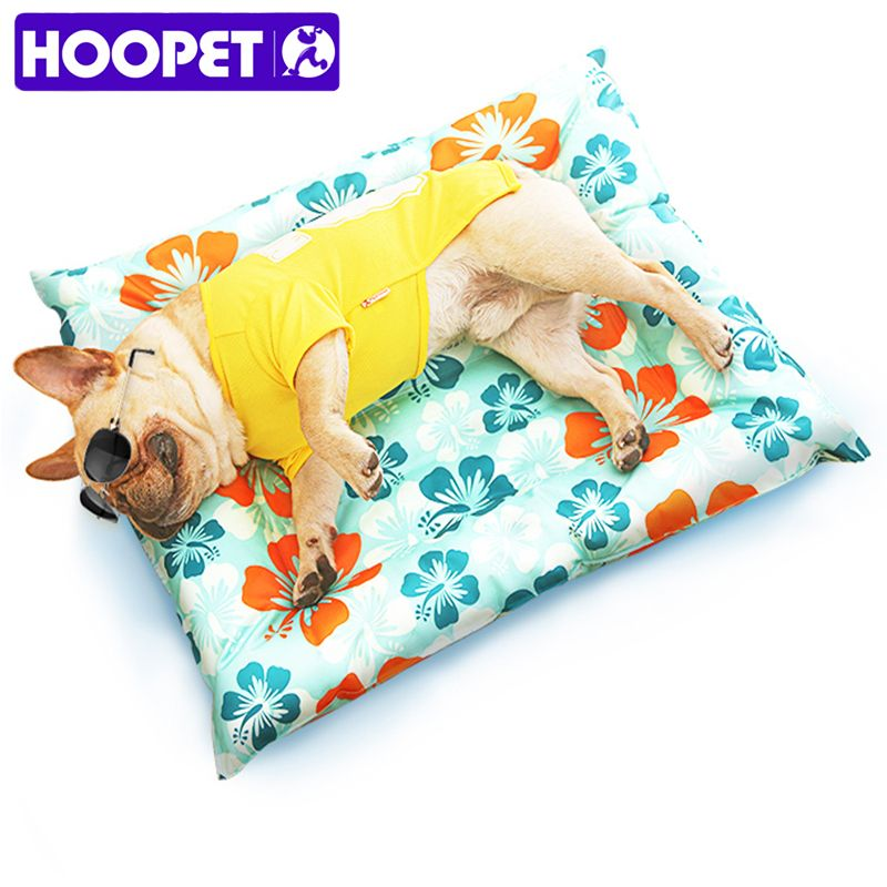 HOOPET Breathable Pet Dog Cat Summer Print Sleeping Mat Self Cooling Mat <font><b>Cold</b></font> Pad Ice Cushion For Big Small Dog