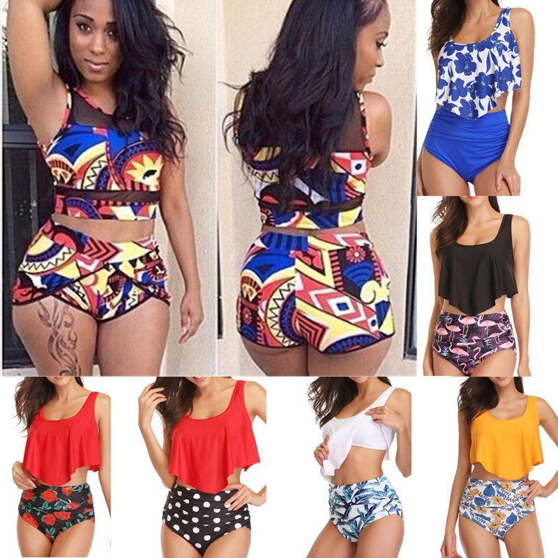 Femmes taille haute Bikini maillot de bain brésilien grande taille maillot de bain imprimé africain grande deux pièces Tankini à volants maillots de bain 2019 XXL