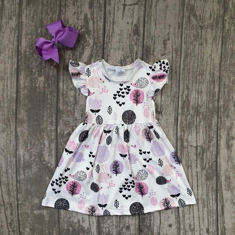 Новый летний хлопок молочный шелк для маленьких девочек детей Изысканная одежда платье наборы лаванды дерево печати оборками с соответств...