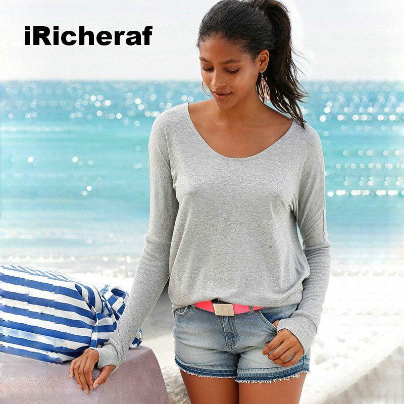 iRicheraf 2017 New Fashion Backless Long Sleeve T Shirt Women Top Gray Black Tshirt Casual Tops Tees Femme Camisetas Mujer XXL