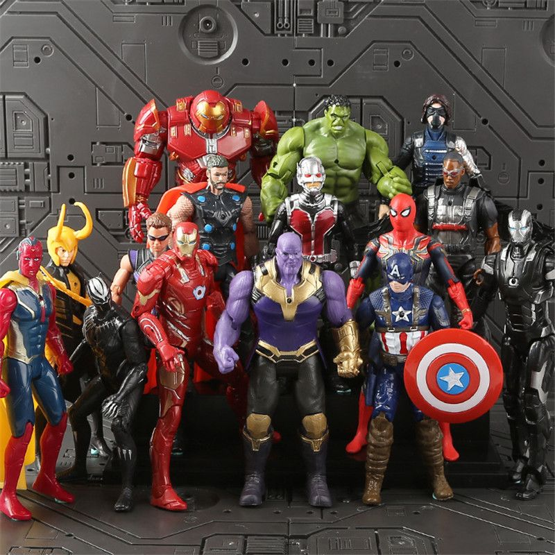 Avengers 3 Infinity War Thanos Iron Spider Figure Spiderman Hulk Black Panther Iron Man Action Figure Toys For Children 16-18CM