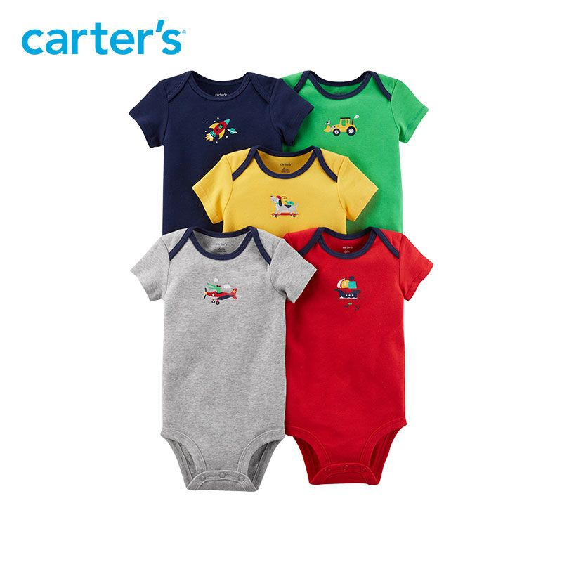 5pcs sweet vehicle prints Cotton Expandable shoulders bodysuits sets Carter's baby boy Summer clothing sets 126H322