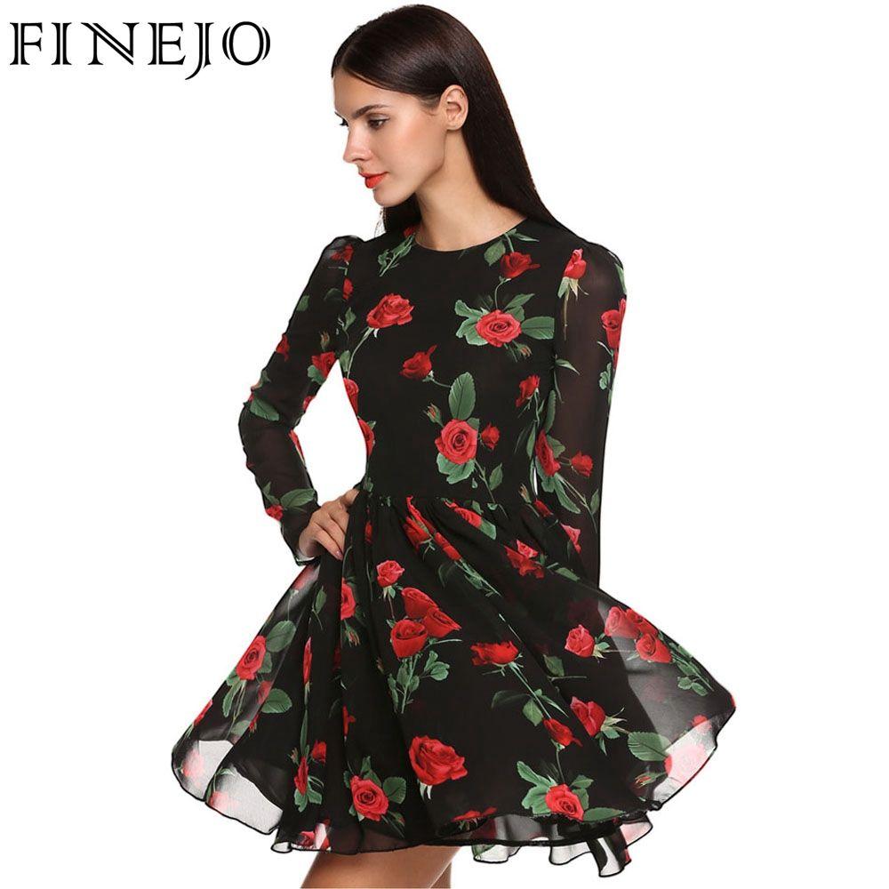 Finejo 2017 Сладкий Тонкий шифоновые платья Для женщин летнее платье 3D принт Роуз цветочные длинным рукавом Vestido плюс Размеры Костюмы S- XXL