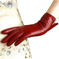 KLSS Брендовые женские перчатки из натуральной кожи высокого качества козья кожа перчатки осень зима элегантные овчины перчатки женские 2303