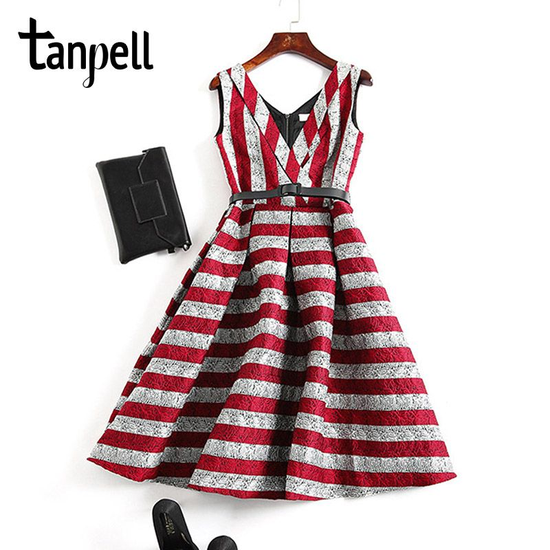 Tanpell stripe short cocktail dress red sleeveless patchwork knee length a line gown women v neck wave cut party cocktail dress