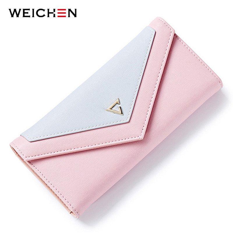WEICHEN HOT géométrique enveloppe portefeuille femmes marque Designer femme portefeuille porte-carte téléphone monnaie poche dames sac à main de haute qualité
