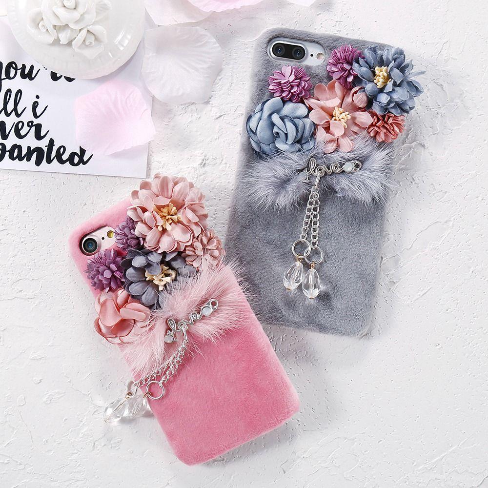 KISSCASE Mode En Peluche Fourrure De Vison Fleur PC Cas Pour iPhone 7 7 Plus Belle Pendentif En Cristal Fleur Boîtier En Plastique Pour iPhone 7 7 Plus