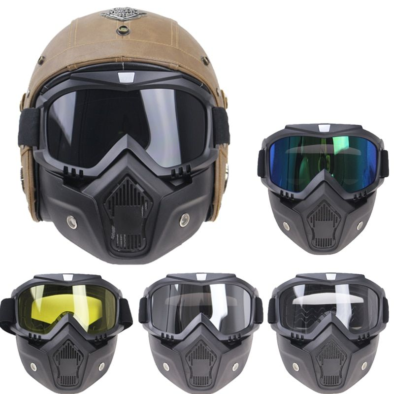 professional Retro Motorcycle helmet Goggle Mask Vintave mask open face helmet cross helmet goggle 5 color available CE approved