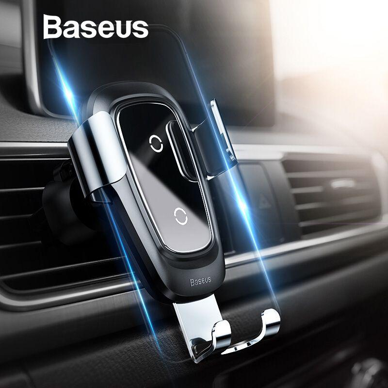 Baseus Qi Drahtlose Ladegerät Auto Halter für iPhone X Samsung S10 Handy Halter Stehen Air Vent Mount Schwerkraft Auto telefon Halter