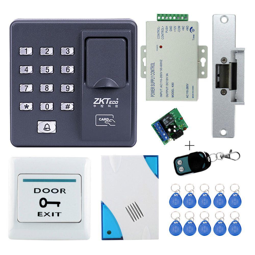 Kit completo de control de acceso por huella X6 + Electric huelga Lock + Power + botón de salida + campana de puerta + Control Remoto + tarjeta