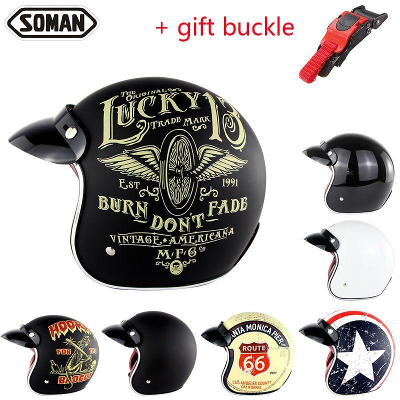Motorcycle Helmet Harley Retro Helmets Chopper Vintage Moto Helmet Open Face Old <font><b>School</b></font> Casco Summer Casque DOT Approval SM512